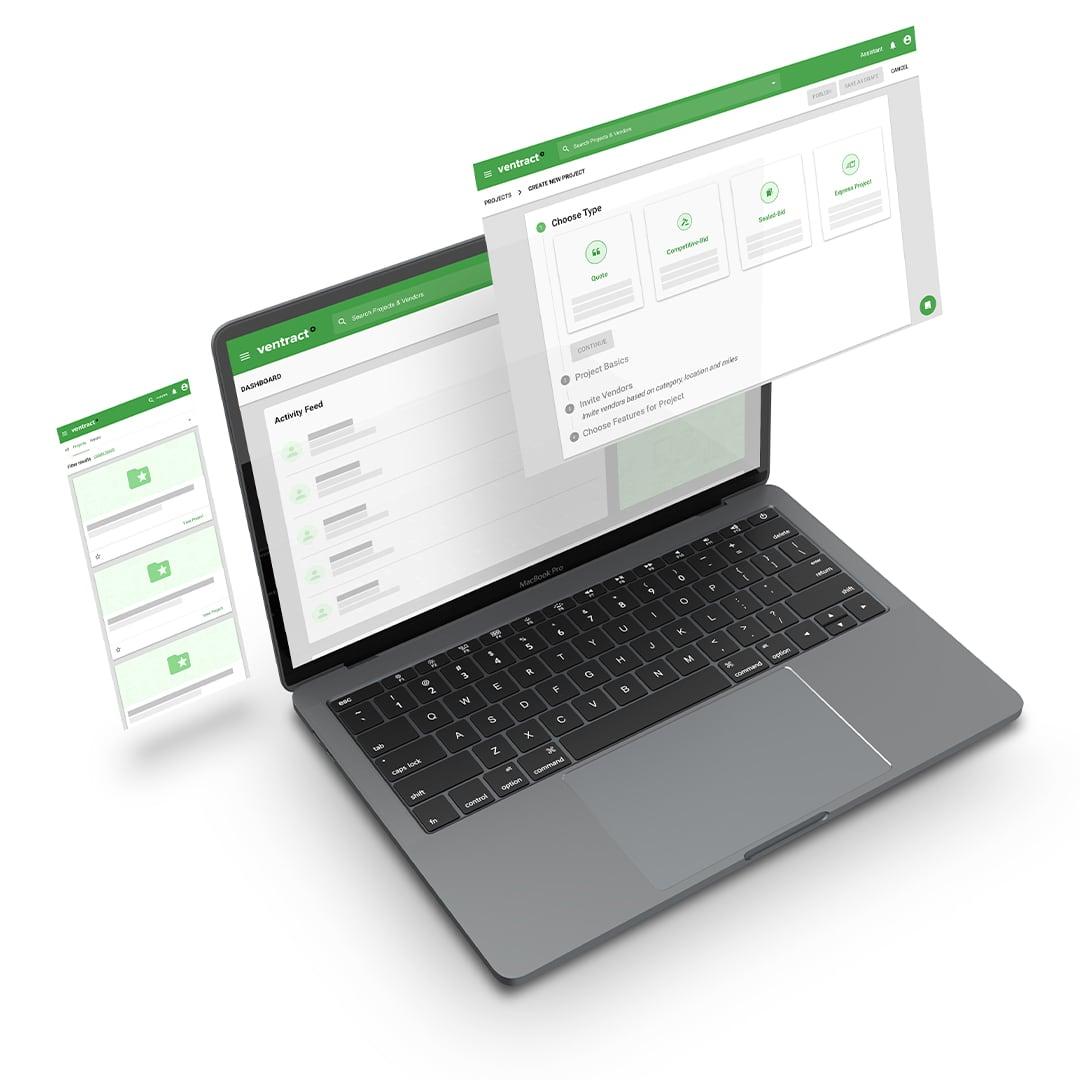 A laptop showing the responsive Ventract procurement application