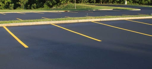 a new parking lot with freshly painted lines