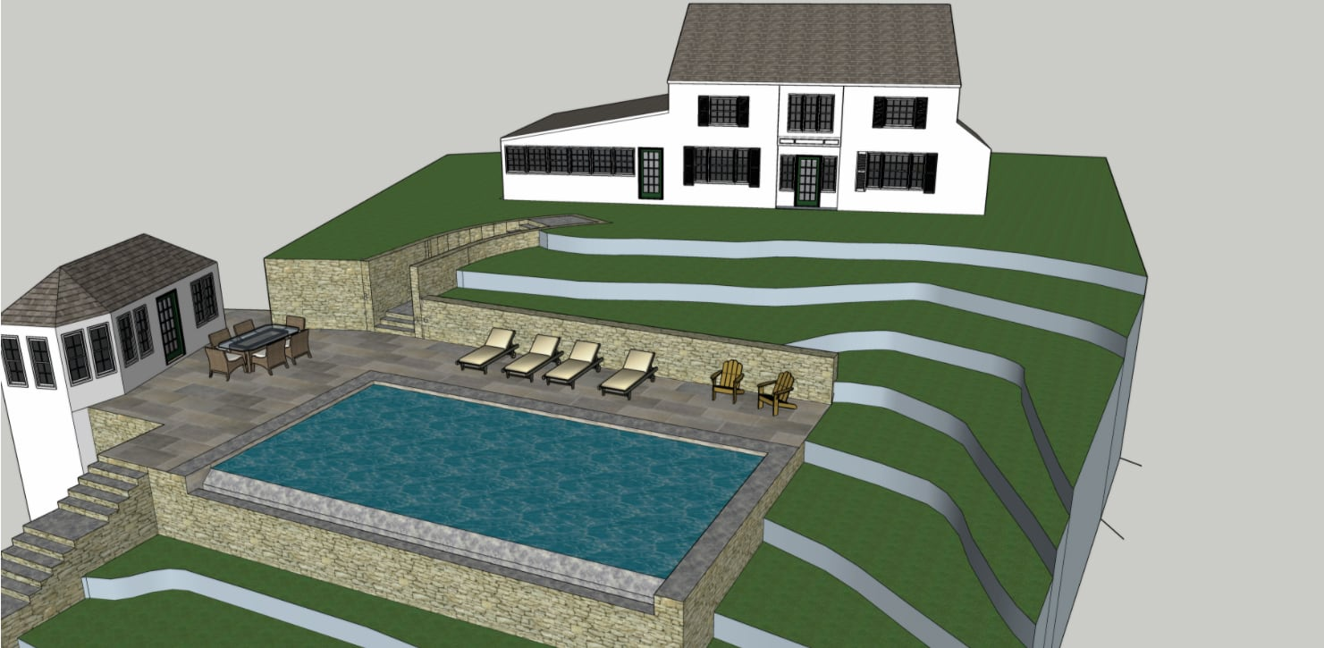 a 3D rendering for a Ventract project to re-landscape a private residence